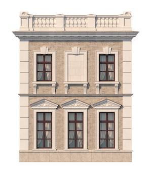 Fachada de una casa clásica de dos pisos con ventanas. renderizado 3d