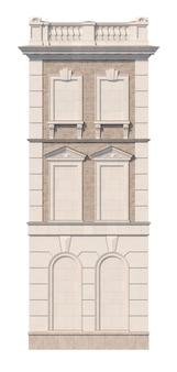 Fachada de una casa clásica de tres pisos con ventanas falsas. renderizado 3d