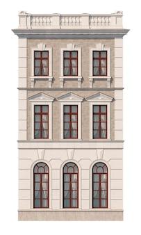 Fachada de una casa clásica de tres pisos con ventanas. renderizado 3d
