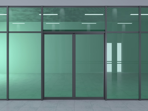 La fachada de un moderno centro comercial o estación, un aeropuerto con puertas correderas automáticas.