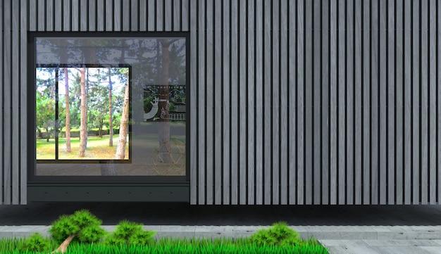 Fachada de una villa moderna desde el tablero