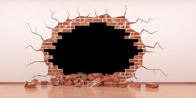Falla en una pared de ladrillos con estuco, ilustración 3d