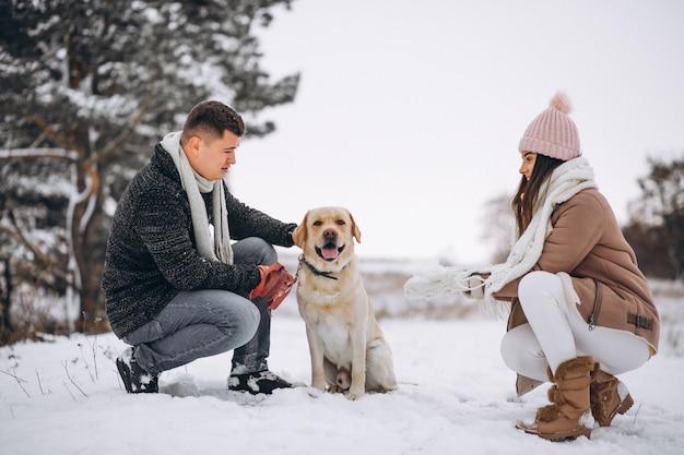 Familia caminando en el parque de invierno con su perro