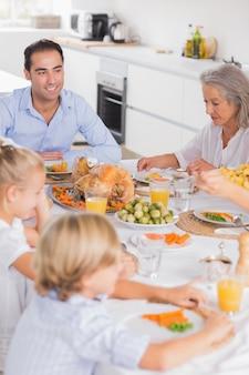 Familia comiendo cena de acción de gracias