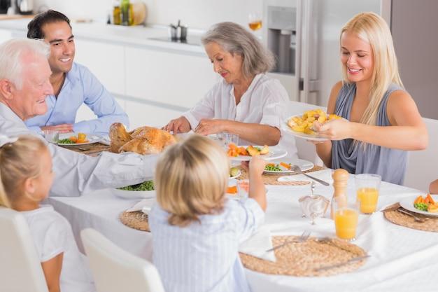 Familia feliz comiendo la cena de acción de gracias