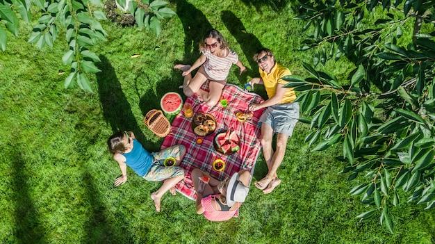 Familia feliz con niños haciendo un picnic en el parque, padres con niños sentados en el césped del jardín y comiendo comidas saludables al aire libre, vista aérea de aviones no tripulados desde arriba, vacaciones familiares y fin de semana