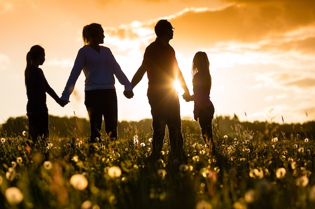 Familia feliz en pradera al atardecer