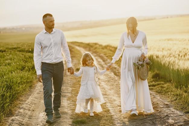 Familia con hija pequeña pasar tiempo juntos en campo soleado