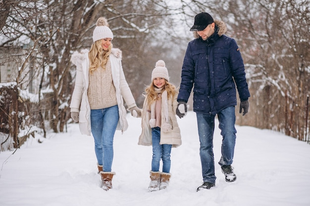 Familia juntos en un parque de invierno