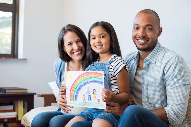 Familia multiétnica feliz