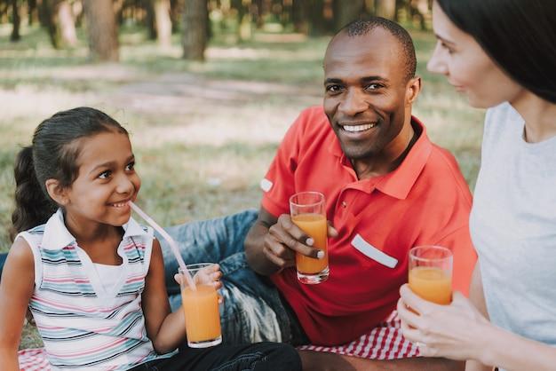 Familia multinacional beber jugo en un picnic.