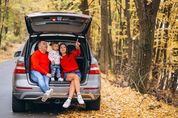 Familia con un pequeño hijo en el parque otoño sentado en el coche