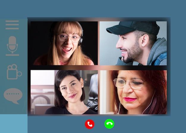 Las familias que se comunican de forma remota a través de videoconferencia se pueden ver en la pantalla de una computadora portátil. hacer videollamadas disfruta de la comunicación virtual