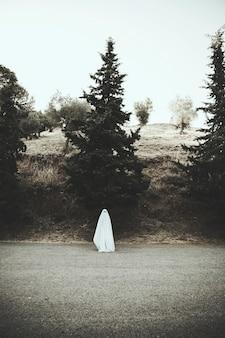 Fantasma de pie en la carretera de asfalto