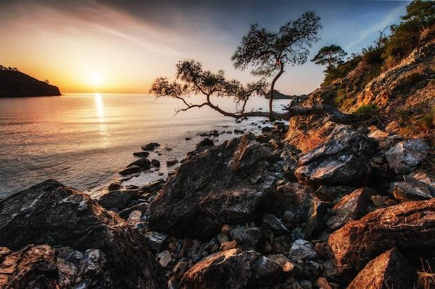 Fantástica vista panorámica de la costa rocosa