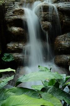 Fascinante imagen vertical de una cascada que fluye salpicando a las rocas