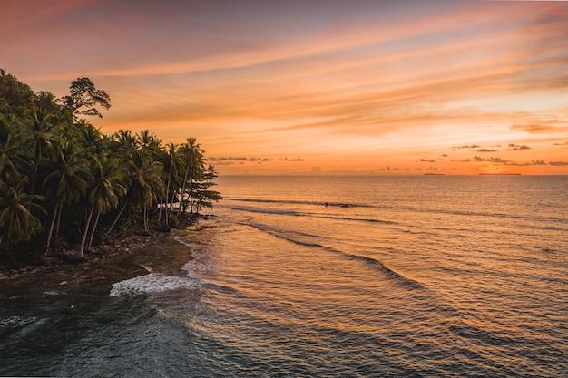 Fascinante vista del océano tranquilo y los árboles en la orilla durante la puesta de sol en indonesia