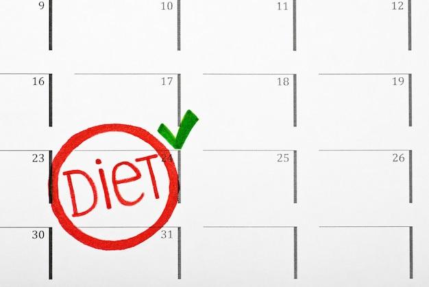 Fecha de inicio marcada en la dieta del calendario