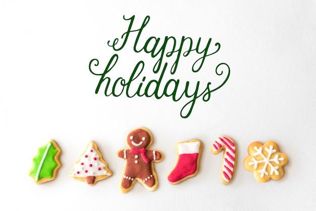 Felices fiestas alegre saludo palabra