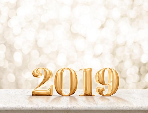 Feliz año nuevo 2019 dorado brillante en mesa de mármol con brillante bokeh dorado