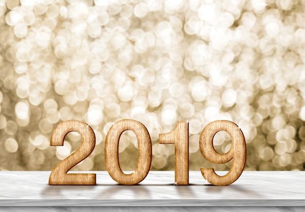 Feliz año nuevo 2019 (renderización 3d) en una mesa de mármol gris en un destello dorado bokeh