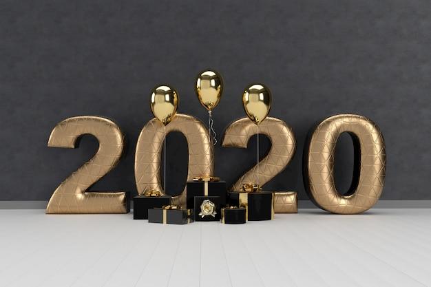 Feliz año nuevo 2020 con cajas de regalo y globos