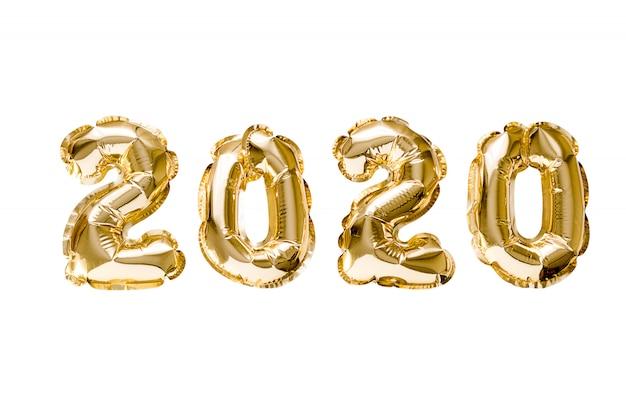 Feliz año nuevo 2020 celebración. lámina de oro globos número 2020 aislado