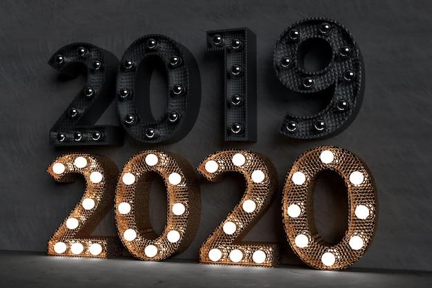 Feliz año nuevo 2020 concepto de diseño - 3d prestados