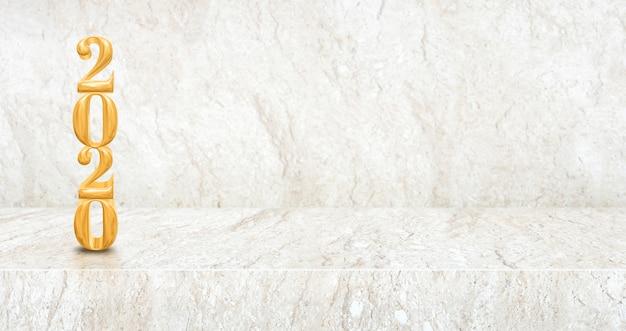 Feliz año nuevo 2020 madera (representación 3d) en perspectiva mesa de mármol y sala de pared