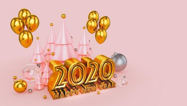 Feliz año nuevo 2020 en rosa y oro