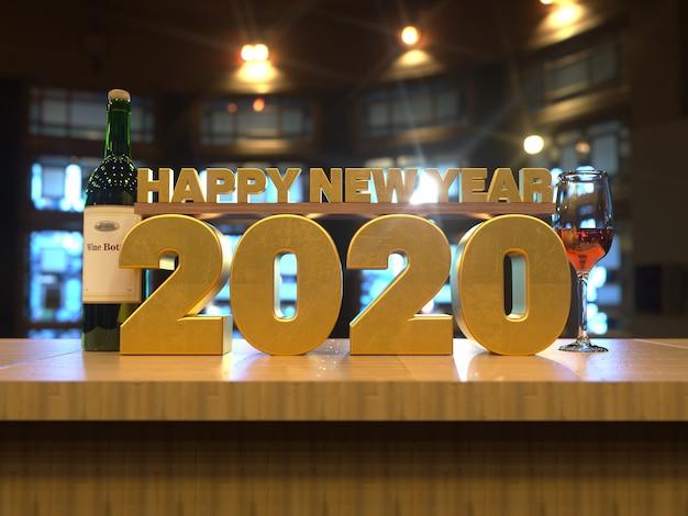Feliz año nuevo 2020 texto dorado sobre una mesa de madera vista frontal