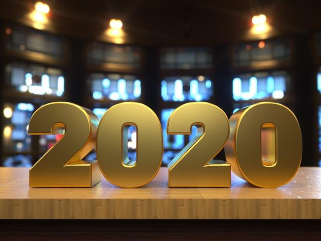 Feliz año nuevo 2020 texto dorado sobre una mesa de madera