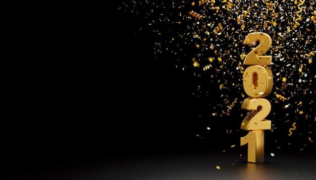 Feliz año nuevo 2021 y confeti de papel de aluminio cayendo sobre fondo negro render 3d