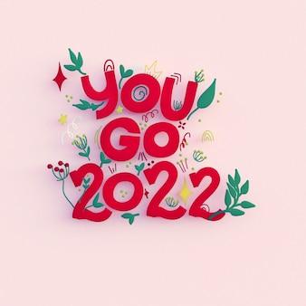 Feliz año nuevo 2022 tarjeta de saludos 3d ilustración de render 3d