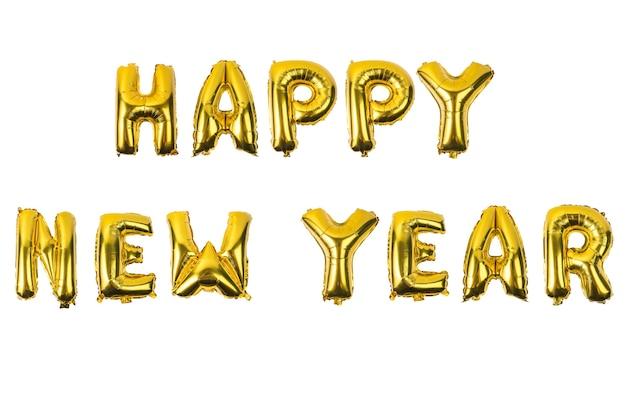 Feliz año nuevo alfabeto inglés de globos amarillos (dorados) sobre un fondo blanco