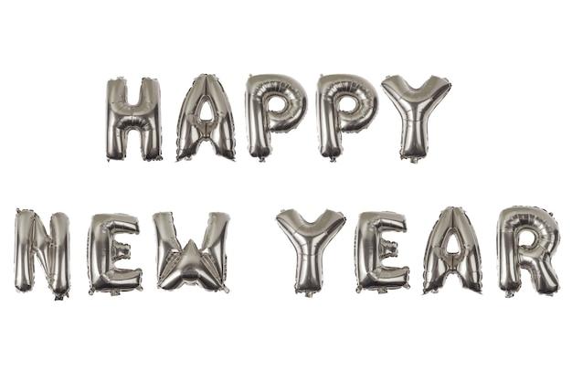 Feliz año nuevo alfabeto inglés de globos sobre un fondo blanco