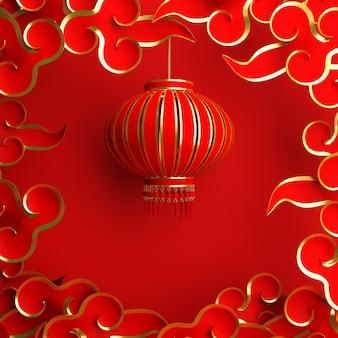 Feliz año nuevo chino decoración con linterna y nube