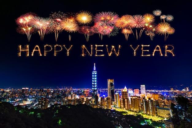 Feliz año nuevo fuegos artificiales sobre el paisaje urbano de taipei en la noche, taiwán