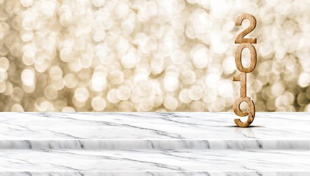 Feliz año nuevo de madera 2019 (renderización 3d) en una mesa de mármol blanco con bo de oro brillante