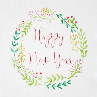 Feliz año nuevo a mano pintura corona de flores en estilo acuarela
