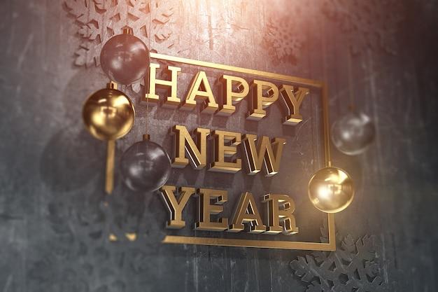 Feliz año nuevo texto con bolas y decoración