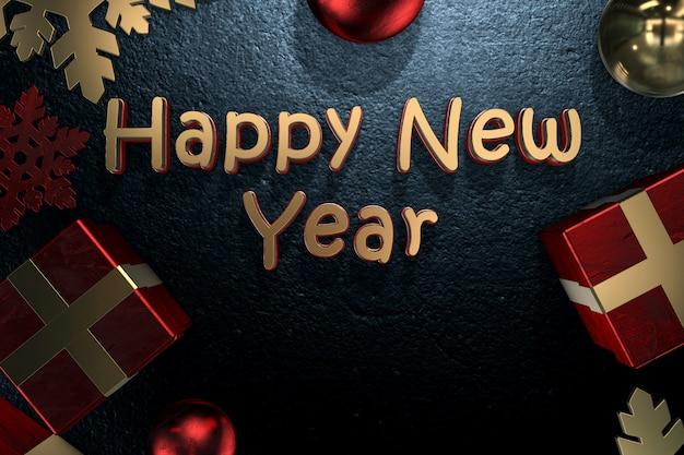 Feliz año nuevo texto con bolas y regalos