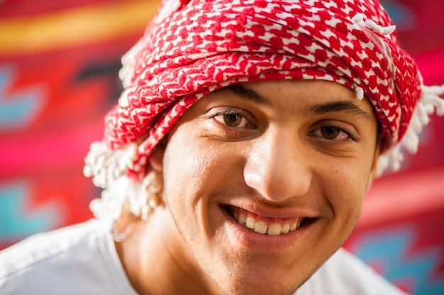 Feliz, árabe, niño