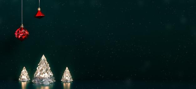 Feliz árbol de navidad luces de la lámpara incandescente con adornos rojos colgando de verde oscuro con nieve cayendo