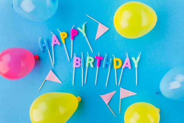 Feliz cumpleaños, escribir y globos