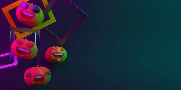 Feliz decoración de fondo de halloween con carácter de calabaza, espacio de copia