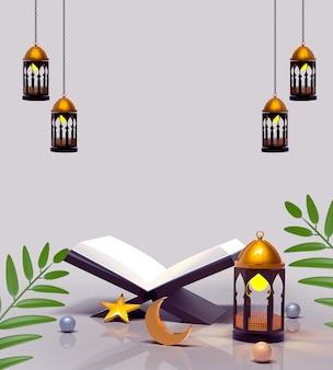 Feliz decoración islámica con linterna y corán.