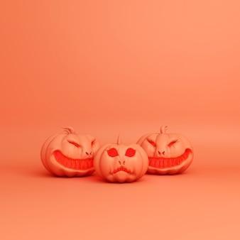 Feliz día de halloween decoración con espacio de copia de calabaza, render 3d