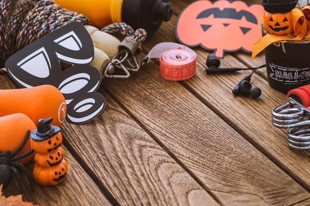 Feliz día de halloween con fitness, ejercicio, ejercicio de fondo de estilo de vida saludable