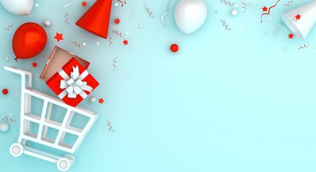 Feliz día de la independencia de indonesia venta decoración fondo con carro carrito caja de regalo globo